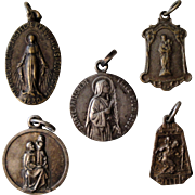Lot of 5 French religious medals from 1920's (Miraculous Madonna, Our Lady of Lourdes, St Philomena / St John Vianney, Joseph & Jesus, St Christopher)