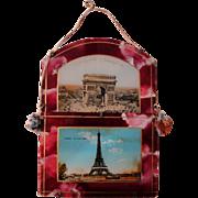 Vintage French Souvenir Letter Holder Paris Tour Eiffel Arc de Triomphe c.1940