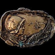 French Art Nouveau bronze tray (maritime scene, fish, boat) c1920