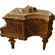 Rare French Piano jewelry box with pink cushion c.1910