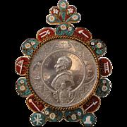 Antique Italian micromosaic micro mosaic standing frame c1893 (Leo XIII)