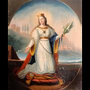 Antique Italian Oil on Canvas Religious Painting St Philomena c1840's