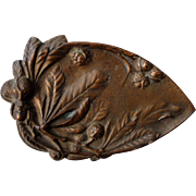 French Art Nouveau Chestnut Tree bronze tray c1920
