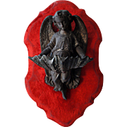 Rare Antique French Red Velvet & Bronze Angel Holy Water Font c1880