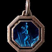 French enameled religious medal St. Christopher c1920