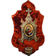 Rare Large Antique French Champleve Enamel Hand Painted Porcelain Red Velvet Holy Water Font c1880