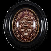 Rare Antique French Reliquary domed glass with Original Seals and with Documentation c1879   (St. Victor, St. Caste, Illuminati, St. Theophile, St. Saturnin, St. Donatien, St. Grat., St. Martial, St. Alphonse de Liguori)