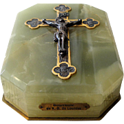 Vintage French Green Onyx Paperweight with Jesus / Angels from Lourdes c1920