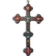 Rare Large Antique Italian Micromosaic Micro Mosaic Cross Crucifix with Birds c1900