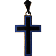 Antique French Enameled Cross c1880