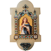 Large Antique French Champleve Enamel Hand Painted Porcelain Mary Magdalene Holy Water Font c1880