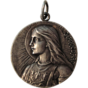 Large French Silver Plated Joan of Arc Medal c1920