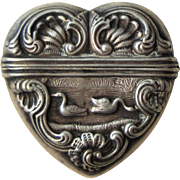 Rare French Antique Art Nouveau Heart shaped Vinaigrette / Perfume Holder with Swans and Fish c1900