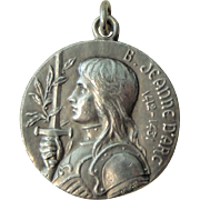 Vintage French Joan of Arc Silver plated Medal c1920