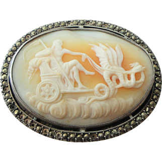 Rare Antique French Shell Cameo set in Sterling Silver with Saturn and Winged Serpents Mythology c1900
