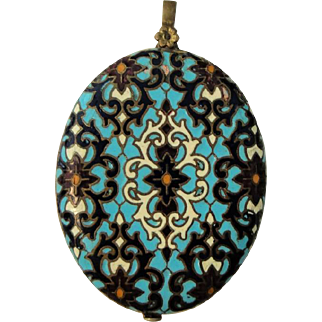 Rare Antique French Champleve Enamel Sliding Mirror / Pendant c1880-1900
