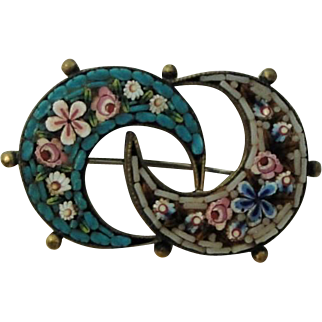 Antique Italian Micromosaic Micro Mosaic Brooch / Pin with 2 Moons and Flowers c1900