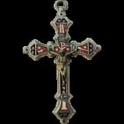 Antique Italian Micromosaic Micro Mosaic Cross / Crucifix c1900