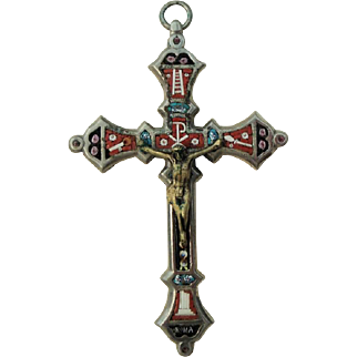 Antique Italian Micromosaic Micro Mosaic Cross / Crucifix c1900