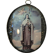 Vintage French Reliquary / Icon St. Therese of Lisieux under Domed Glass c1920