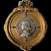 Rare French Antique Art Nouveau Joan of Arc Bronze Wall Plaque Signed Medal Fleur de Lys c1900