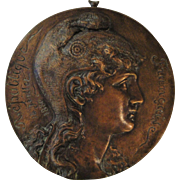Rare Large Antique French Signed Bronze Plaque Marianne Republique Francaise July 14th c1880