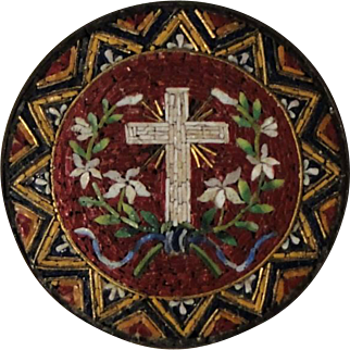 Small Antique Italian Micromosaic Micro Mosaic Plaque with Cross and Flowers c1880