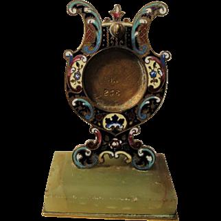 Antique French Champleve Enamel Green Onyx Pocket Watch Holder c1880