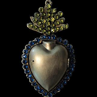 Antique French Sacred Heart Reliquary Ex Voto c1900