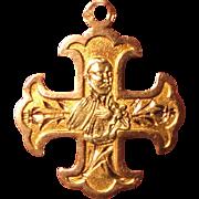 Antique French 18k Yellow & Rose Gold Religious Medal St. John Francis Regis c1900