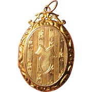 Antique English Art Nouveau 9k Gold Locket with Fleur de Lys c1911