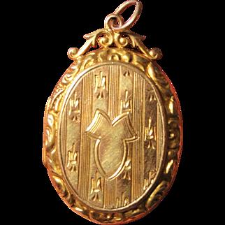 Antique English Art Nouveau 9k Gold Locket with Fleur de Lys c1911
