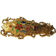 Rare Antique French 18k Yellow Gold Enameled Brooch with Flowers c1830