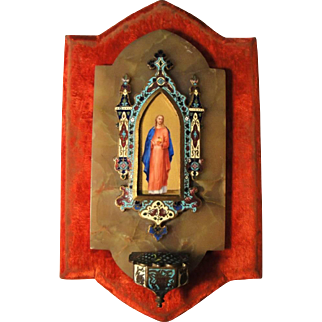 Antique French Champleve Enamel Hand Painted Porcelain Jesus Sacred Heart Holy Water Font c1880