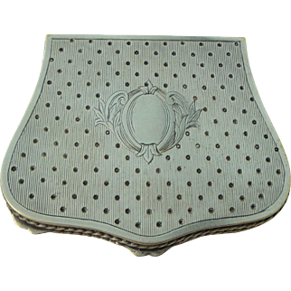 Vintage French Art Nouveau Silver Plated Compact with Beveled Mirror c1930