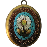 Antique Italian Flower / Daisy Micromosaic Micro Mosaic Pendant Goldstone c1900