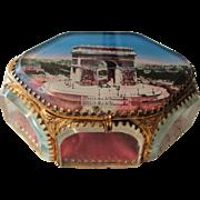 Rare Large Antique French Eglomise Souvenir Jewelry Box / Casket view of Paris Arc of Triumph c1900