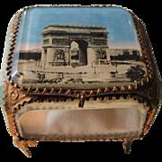 Large Antique French Eglomise Souvenir Jewelry Box / Casket view of Paris Arc of Triumph c1900