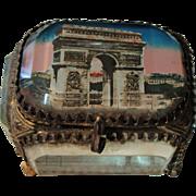 Antique French Eglomise Souvenir Jewelry Box / Casket view of Paris Arc of Triumph c1900