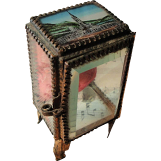 Antique French Eglomise Souvenir Jewelry Box / Pocket Watch Holder view of Lourdes c1900