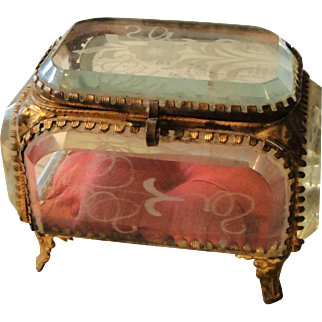 Antique French Etched Glass Jewelry Box with Flowers c1900