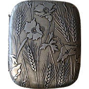 Antique French Cigarette Case Poppy, Wheat c1910