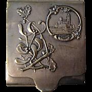 Antique French Cigarette Case Our Lady of La Garde, Marseille, Mistletoe, Acorn c1910