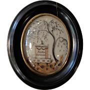 Antique French Mourning Hair Art domed glass oval wooden frame c.1860