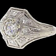 Edwardian Platinum .52ct Diamond Engagement Ring