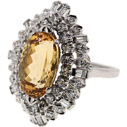 Vintage Platinum Imperial Topaz & Diamond Mid Century Ring, Upcycled
