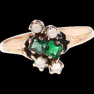 Antique 10k Rose Gold Demantoid Garnet & Moonstone Ring