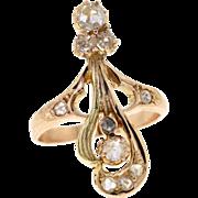 Art Nouveau 14k Rose Gold Rose Cut Diamond Antique Ring
