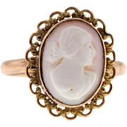 Antique 9ct Rose Gold Cameo Ring, Hallmarked 1915