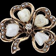 Edwardian 10k Gold Clover Seed Pearl Diamond Pin